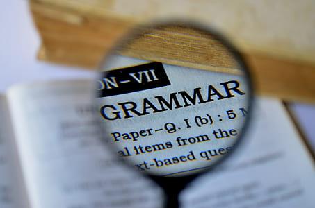selective focus photo of Grammar printed paper