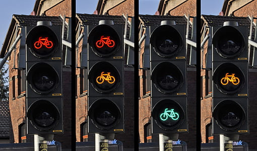 black traffic light bicycle