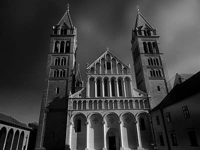 Grayscale Low Angle Photo of a Cathedral