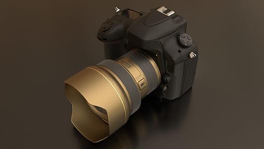 black and gray DSLR camera