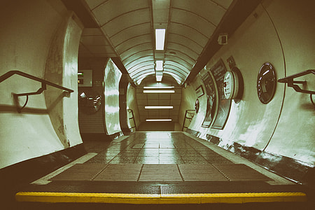 Image taken in a passenger tunnel on the London Underground rail network. Captured with a Canon DSLR