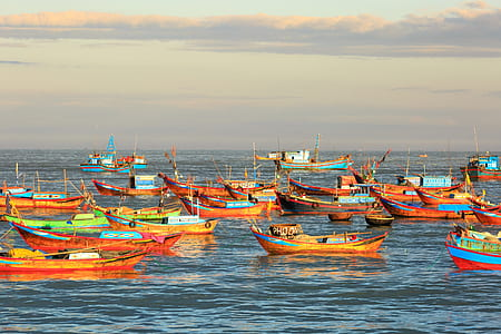 orange boats on body of water during golden hour