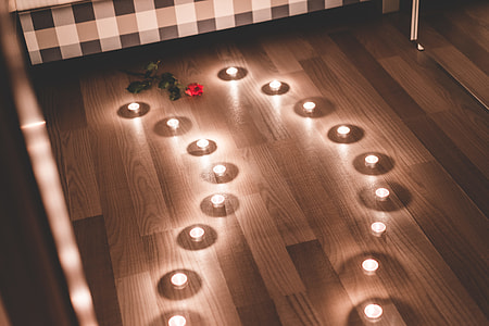 Romantic Candles as a Pathway in a Bedroom