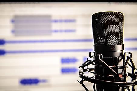 black microphone condenser