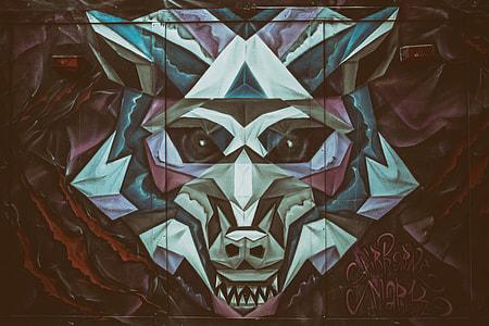 Urban wolf street art captured in Shoreditch