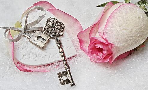 pink rose and gray skeleton key
