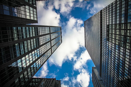 worms eyeview of gray buildings during clear skies