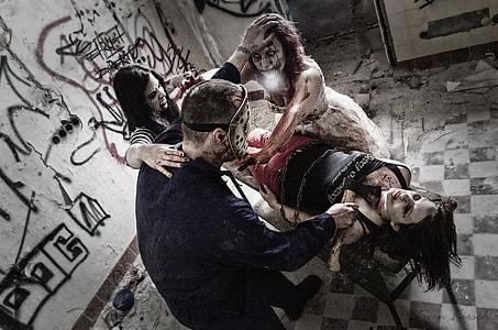 man, mask, zombie, murder, manslaughter, horror