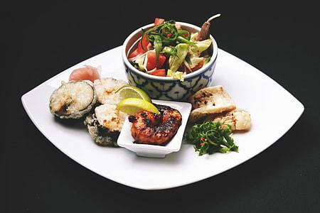 Japanese dinner on plate