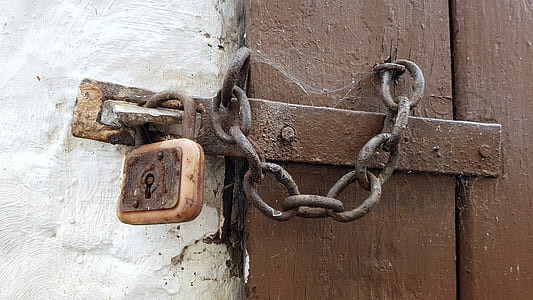 brown chain lock