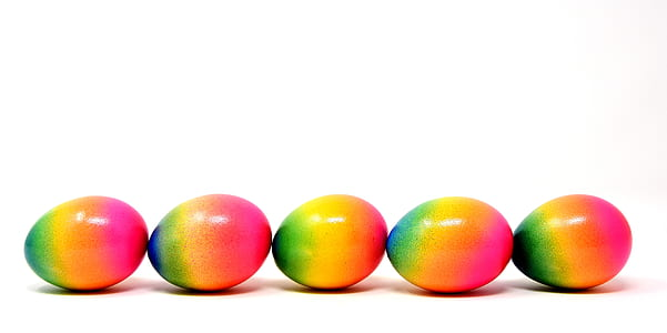 inline five green-yellow-and-pink eggs