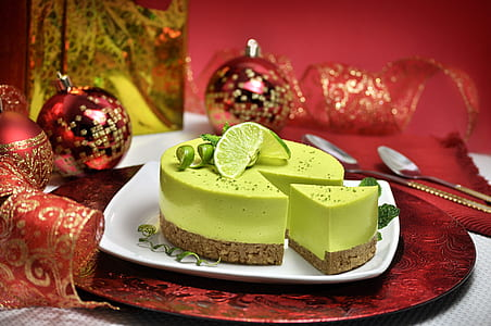 green and brown icing covered cake