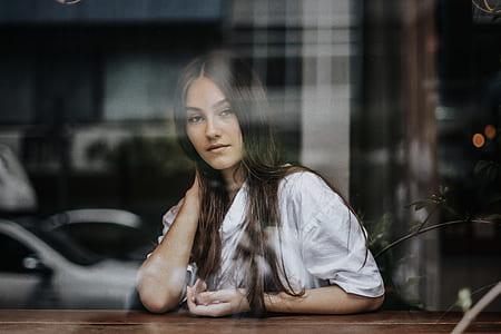 window, woman, portrait, looking at camera, bangkok