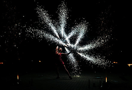 person doing fire dancing