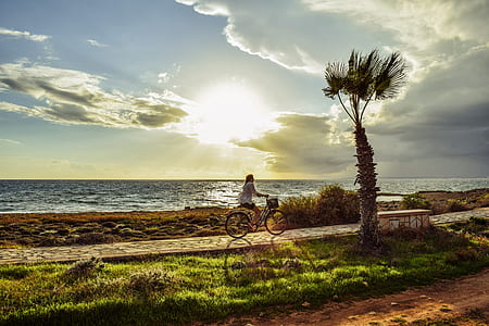 woman cycling beside sea during sunset