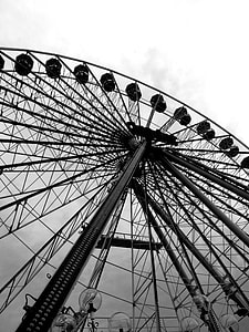ferris wheel grayscale photography
