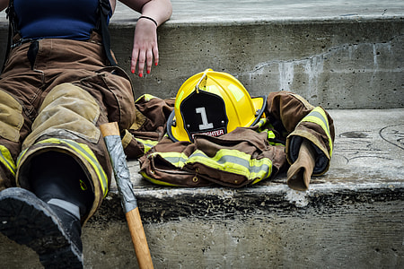 firefighter sitting on stair