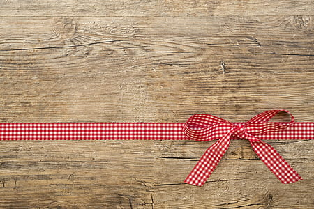 white and red plaid bowtie