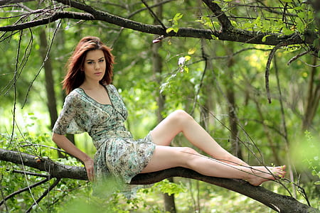 woman sitting at branch of tree during daytime