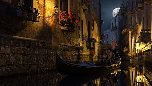 couple sitting on canoe boat between of houses