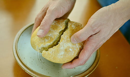 person holding bread