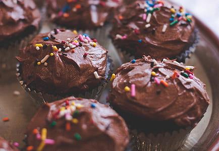 six chocolate muffins