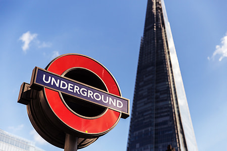 The famous London Underground sign with the Shard skyscraper in the background. Image captured with a Canon 6D