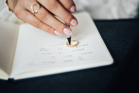 Woman preparing invitations