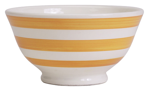 round white and brown stripe bowl with white background