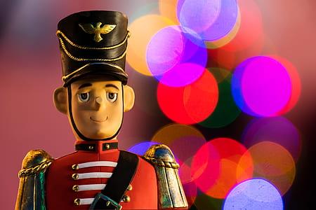 bokeh photography of Royal Guard nutcracker doll