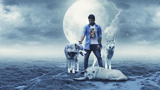man in blue jacket surrounded by three wolves with moon background
