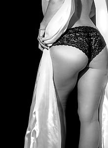 grayscale photo of woman wearing panty