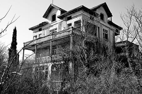 grayscale photography of 3-storey house near trees