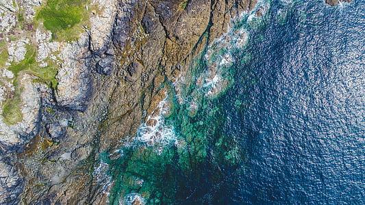 coastline, shore, ocean, rock, aerial, guernsey