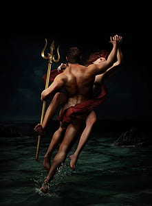 woman and man holding trident on body of water illustration