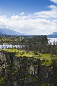 tree, cloud, rock, cliff, hill, river