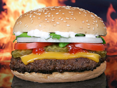 burger with cheese and mayonnaise
