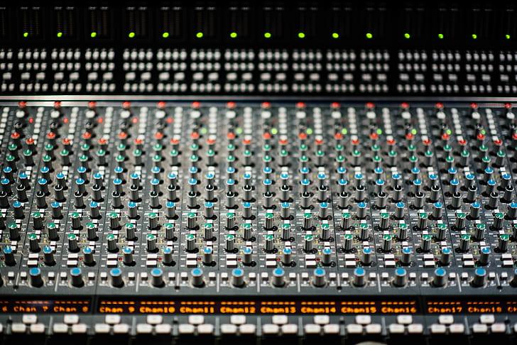 black and green studio mixer
