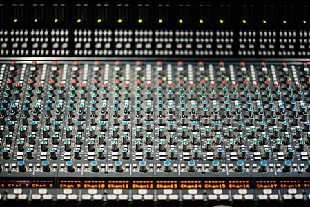 black and green studio mixer