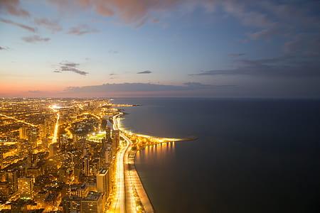 aerial photograph of coastal city