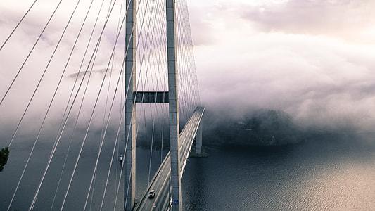 Bridge Cars Fog