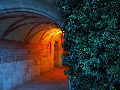 orange lamp lighted under beige concrete tunnel