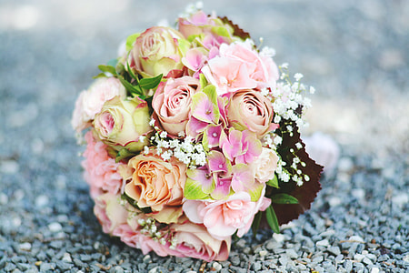 selective focus photography of pink and green flower bouquet