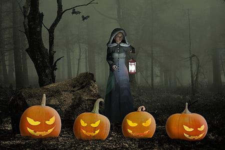 woman in white dress standing near four orange pumpkins