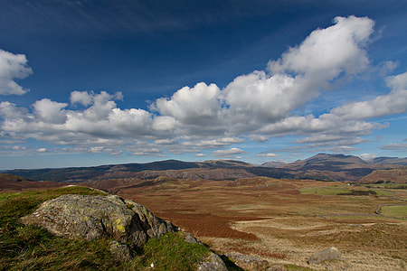 Wide-angle landscape shot taken on a sunny day in the Lake District, Cumbria, England