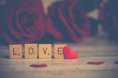 closeup photography of LOVE word standee