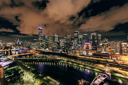 areal shot of city lights