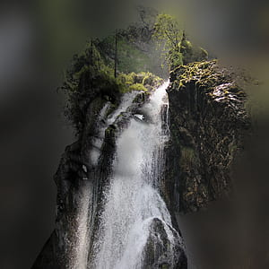 waterfalls with human face photography