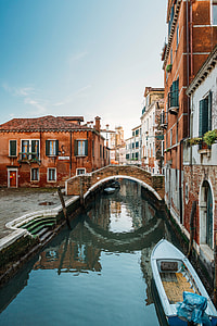 white boat on grand canal Venice Italy