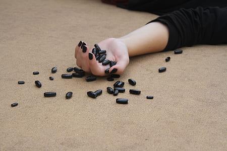 black medicinal tablets
